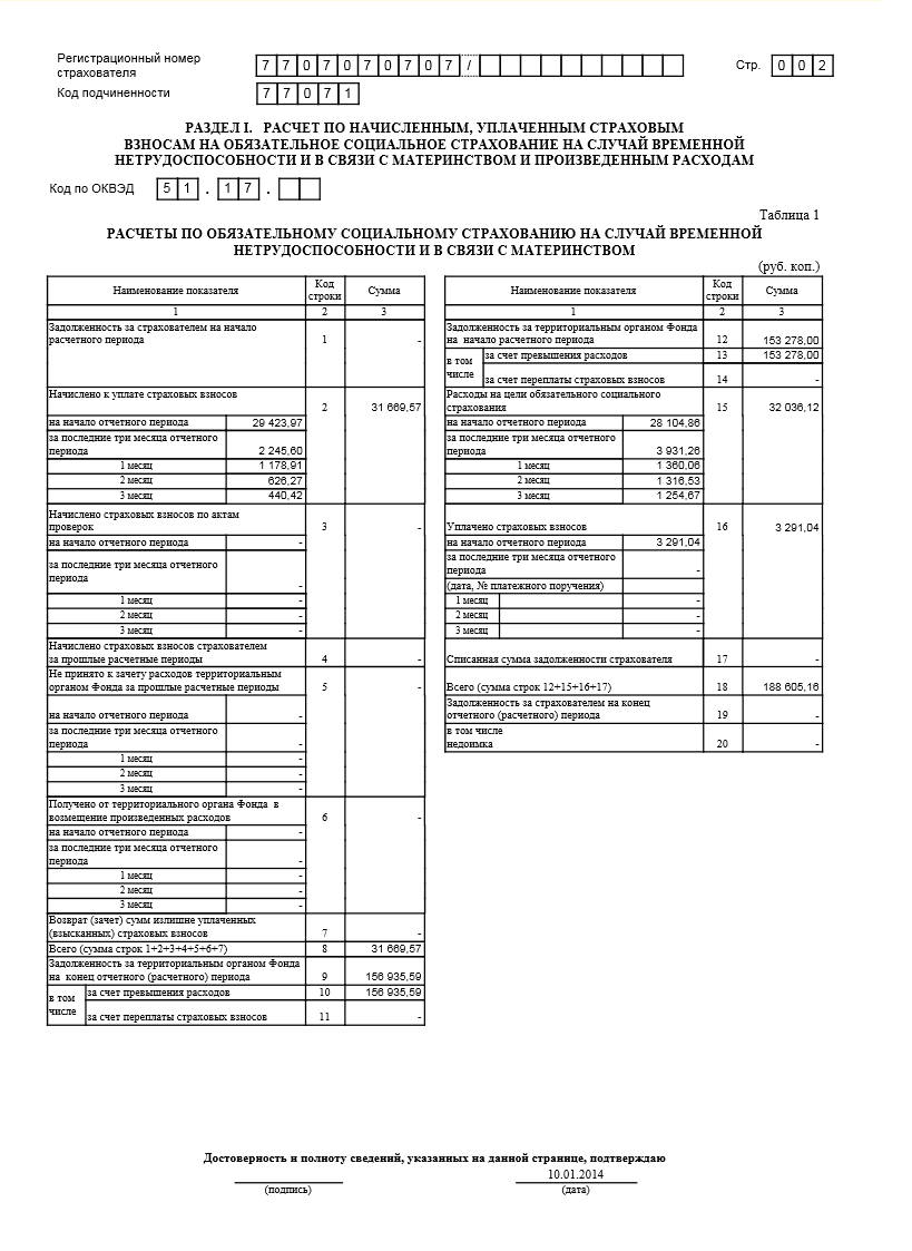 Отчетность в ФСС по форме ФСС за год с примером заполнения