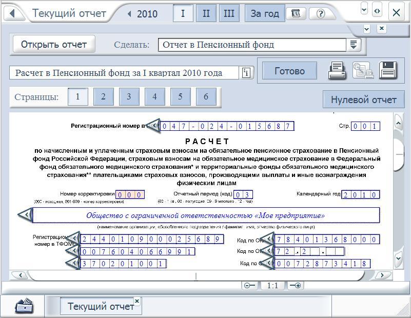 Как сделать Отчет в Пенсионный фонд (РСВ-1) за квартал и год 2010 г.